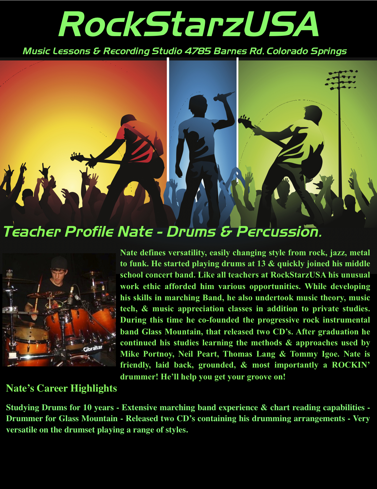 Drum lessons Colorado Springs